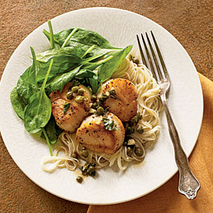 Scallop Piccata with Sautéed Spinach