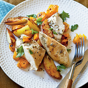 Budget Recipes: Roast Chicken with Potatoes and Butternut Squash