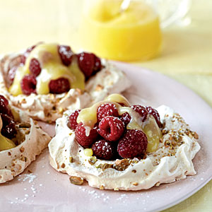 Pistachio Pavlovas with Lemon Curd and Berries