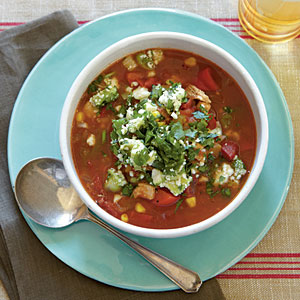 Chili-Spiced Chicken Soup with Stoplight Peppers Recipe