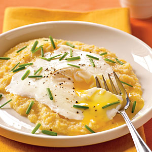 Eggs Blindfolded Over Garlic-Cheddar Grits Vegetarian Egg Recipe