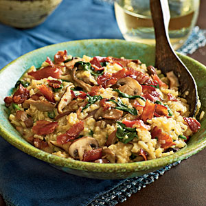Healthy Bacon and Wild Mushroom Risotto With Baby Spinach Recipes