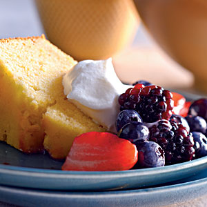 Healthy Lemon-Cornmeal Pound Cake with Berries and Cream Recipes