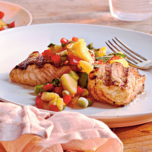 Healthy Grilled Halibut with Peach and Pepper Salsa Recipes