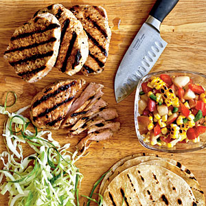 Grilled Pork Tacos with Summer Corn and Nectarine Salsa