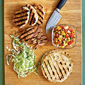 Grilled Pork Tacos with Summer Corn and Nectarine Salsa Recipe