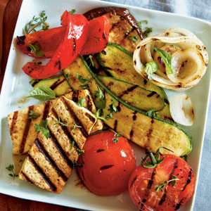 Grilled Tofu with Ratatouille Vegetables Vegetarian Summer Entree Recipe