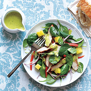 Grilled Chicken and Spinach Salad with Spicy Pineapple Dressing Recipes