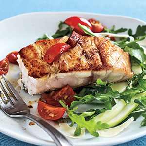 Healthy Dinner Recipe: Pan-Seared Striped Bass All'amatriciana