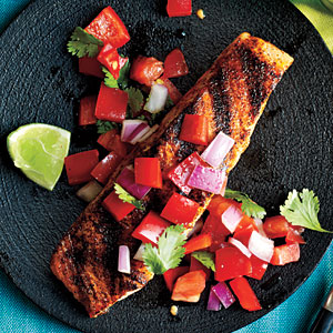 Pan-Grilled Salmon with Red Pepper Salsa