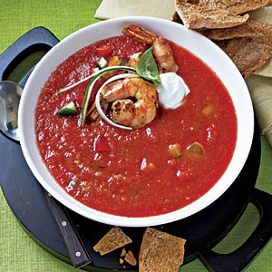 Healthy Dinner Recipes: Chunky Gazpacho with Sautéed Shrimp