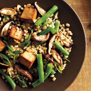 Toasted Barley, Green Bean, and Shiitake Salad with Tofu Recipe