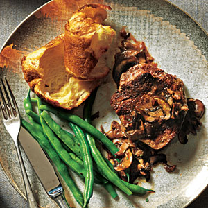 Beef Filets with Mushroom Sauce and Parmesan Popovers Recipes