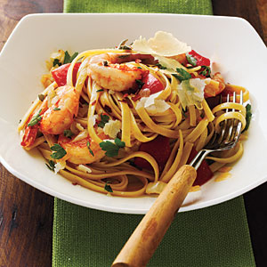 Roasted Red Pepper and Herb Pasta with Shrimp Recipe