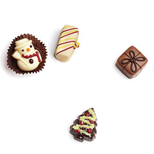 Moonstruck Chocolatier Holiday Collection Truffles Four Piece Box