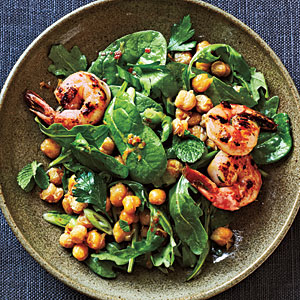 Crispy Chickpea Salad with Grilled Prawns