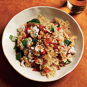 Mini Farfalle with Roasted Peppers, Onions, Feta, and Mint Recipe