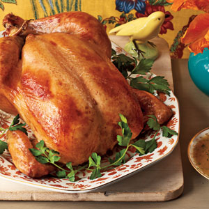 Brown Sugar-Glazed Capon with Bourbon Gravy Recipe