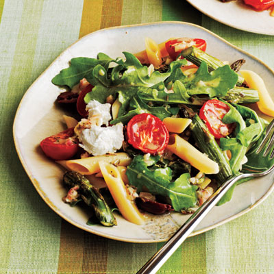 Asparagus and Tomato Penne Salad with Goat Cheese - Healthy Pasta ...