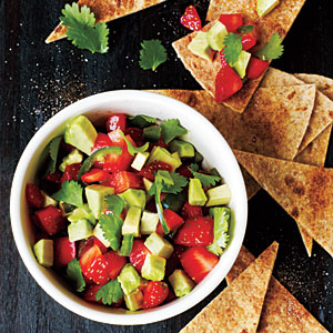 Strawberry-Avocado Salsa with Cinnamon Tortilla Chips Recipe
