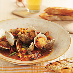 Grill-Braised Clams and Chorizo in Tomato-Saffron Broth Recipes