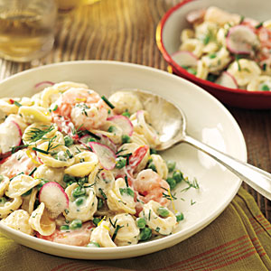 Orecchiette with Peas, Shrimp, and Buttermilk-Herb Dressing