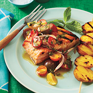 Grilled Char with Yukon Golds and Tomato–Red Onion Relish Recipe