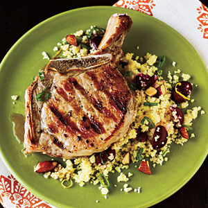 Pork Chops with Cherry Couscous Budget Cooking Recipe