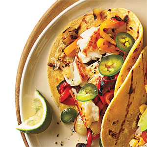Sautéed Tilapia Tacos with Grilled Peppers and Onions Recipe