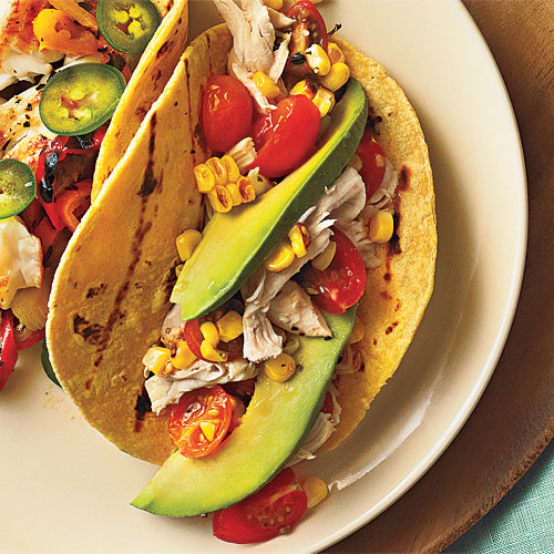 Weeknight meal planner cooking light pear walnut sandwiches shredded chicken tacos with tomatoes and grilled corn forumfinder Images