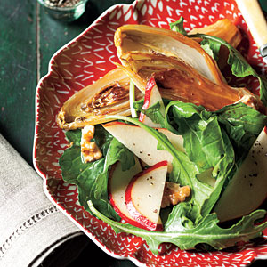 Whole Roasted Endives with Pear, Arugula, and Walnut Salad Recipe