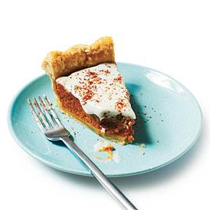 Sweet Potato Pie with Spiced Cream Topping Recipe