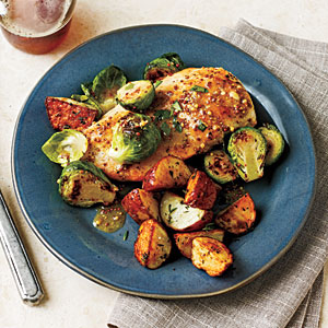 Chicken with Brussels Sprouts and Mustard Sauce Recipe