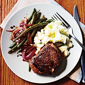 Beef Tenderloin Steaks and Balsamic Green Beans Recipe
