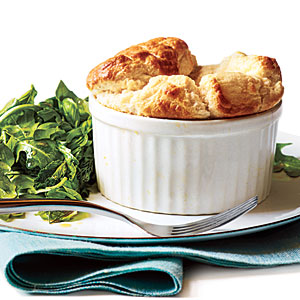 Cheese Soufflés with Herb Salad