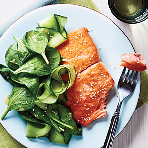 Salmon with Spinach Salad and Miso Vinaigrette Recipe