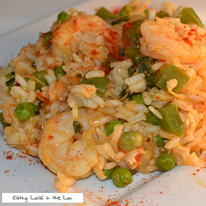 Elizabeth Cowie and Shrimp with Lemon-Saffron Rice