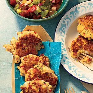 Shrimp and Corn Cakes with Heirloom Tomato Salsa Recipe