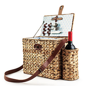 SunnyLIFE Wicker Picnic Basket for Two