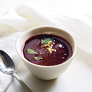 """Royal Blueberry"" Gazpacho with Lemon and Mint"