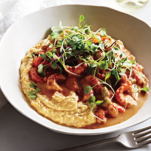 Saucy Crawfish with Whole Corn Grits Recipe
