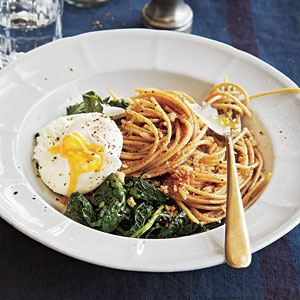 Italy: Whole-Wheat Spaghetti with Kale, Poached Eggs, and Toasted Breadcrumbs