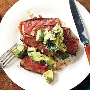 Spice-Rubbed New York Strip with Avocado-Lime Salsa