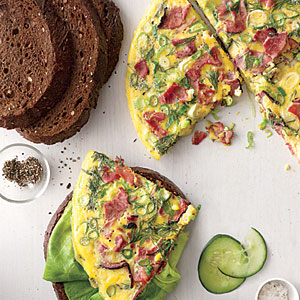 Open-Faced Pastrami Omelet on Pumpernickel