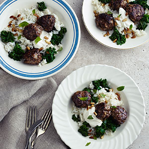 Lamb Meatballs with Kale, Cumin Yogurt, and Carolina Gold Rice