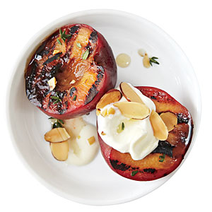 Honey Glazed Plums with Almonds and Crème Fraîche