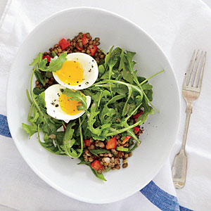 Lentil Salad with Soft-Cooked Eggs