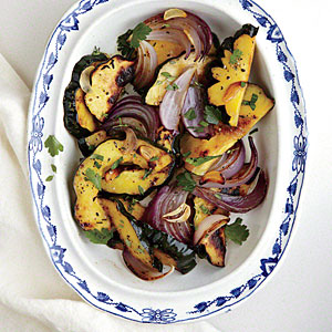 Roasted Red Onions and Delicata Squash