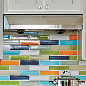 Colorful Tiles and Range Hood