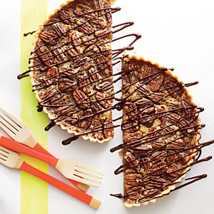 Honey-Pecan Tart with Bittersweet Chocolate Drizzle